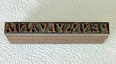 Antique Copper Letterpress Wood Print Block Pennsylvania