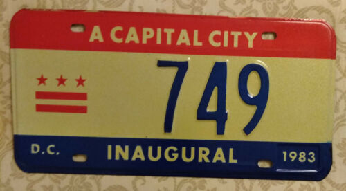 1983 WASHINGTON DISTRICT OF COLUMBIA MAYORAL 749 INAUGURAL LICENSE PLATE