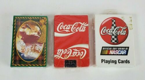 Lot Of 3 Coca-Cola Decks Playing Cards 1 Santa 1 Nascar 1 Red Sealed Vintage