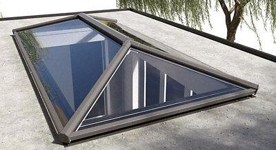 ALUMINIUM LANTERN SKYLIGHT GLASS ROOF, STRATUS, GREY/WHITE 1250mm x 3000mm