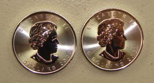 Lot of (2) 2020 1 oz Canadian Silver Maple Leaf Bullion Coins Gem Uncirculated