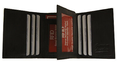 Mens Trifold Leather Wallet RFID Blocking Black New AG Wallets!