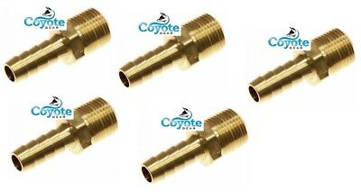 5 Pack 18 Npt Male Threads X 14 Hose Barb Brass Straight Fitting Coyote Gear