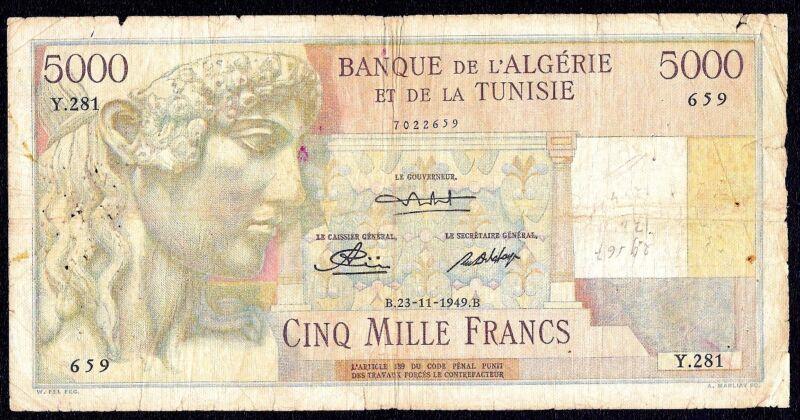 Algeria  Tunisia  5000  Francs  1949   P-109a