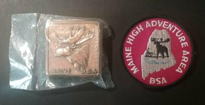 BSA Boy Scouts Maine High Adventure Area DEFUNCT Moose Belt Buckle & Patch