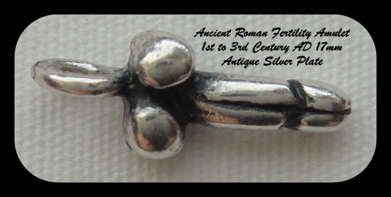 SILVER PLATED ROMAN FERTILITY AMULET, Version 1