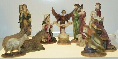Nativity Set 12 Pieces Holy Family, 3 Wise men, Shepard, 4 Animals, & Angel
