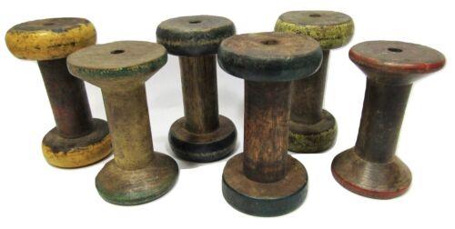 "Lot of 6 Antique Vintage 3"" Painted Wooden Industrial Textile Bobbins Spools"
