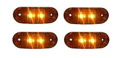 4x 12V Orange Begrenzungsleuchte 2 LED Umrissleuchte E-Prüf Positionsleuchte