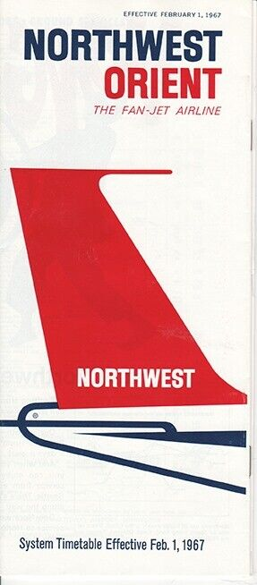 Northwest Orient Airlines timetable 1967/02/01
