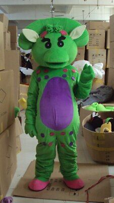 Green Barney Mascot Costume Suit Cosplay Party Dress Outfit Halloween Adult 2019](Barney Halloween Costume Adults)