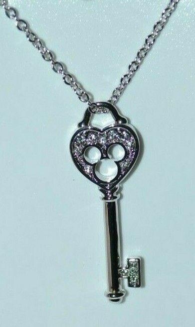 Disney Arribas Mickey Icon Key Necklace W/Swarovski Crystals New