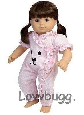 "Lovvbugg Pink Dots Bear Face Sleeper For 15"" Bitty Baby Doll Clothes"