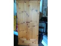 Turin 2 Door Pine Wardrobe with 1 Drawer