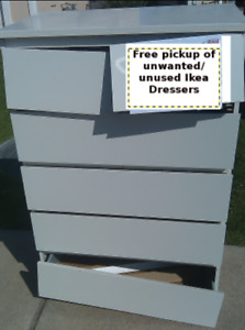 Will pick up Ikea broken/unused/unwanted dressers for free