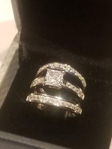 3 Ct Princess Diamond Engagement Ring Two Band Wedding Set 14k White Gold Finish