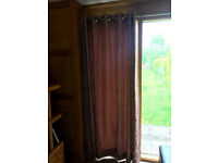 Premium curtains - terracotta with embossed leaf pattern - five pairs