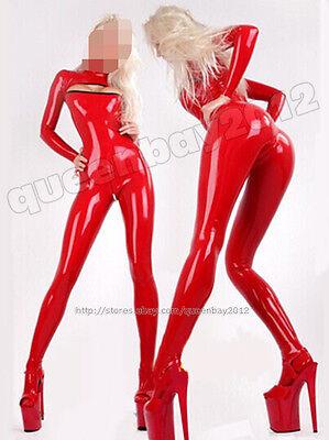 100% Latex Rubber Gummi 0.45mm Catsuit Bodysuit Suit Fashion Red