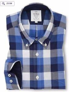 TM LEWIN Navy Blue Check Oxford Casual Regular Fit Shirt Perth Perth City Area Preview