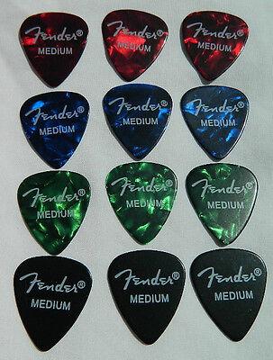 12 x Fender 351 Med' Premium Celluloid Guitar Picks / Plectrums Cheapest on ebay