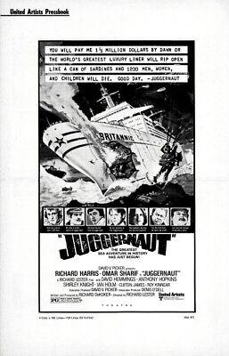JUGGERNAUT pressbook, Richard Harris, Omar Sharif, Shirley Knight, Ian Holm