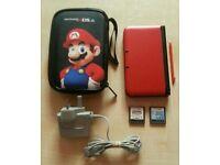 3ds xl console red, Super Mario case & 2 Mario games
