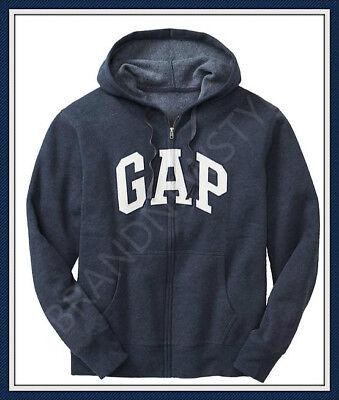 Arched Logo Zip - GAP ARCH LOGO Zip Hoodie Sweatshirts NAVY HEATHER /White SWEATERS JACKET MEN NEW