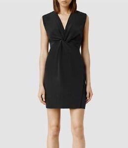 NWT AllSaints black Salma 100% silk dress - size 6 small