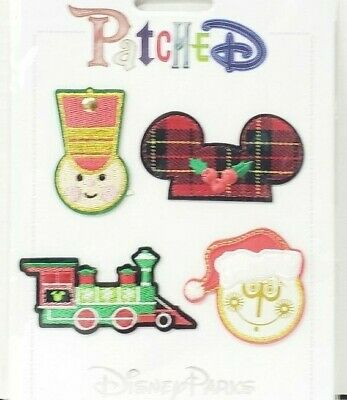 Disney Parks PATCHED Holiday Christmas Clothing Patches Train Small World Set