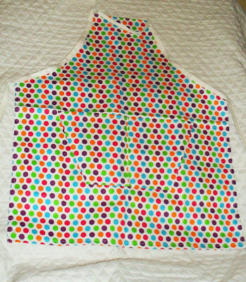 White with Mult Color Polka Dots Design Homemade Child Size (Kids Polka Dots Apron)