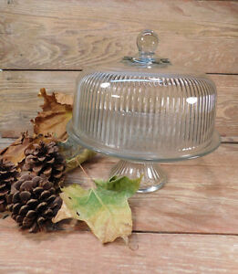 Vintage Glass Pedestal Cake Stand With Dome
