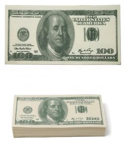 100 Dollar Bill Novelty 2 Ply Printed Tissues / Napkins