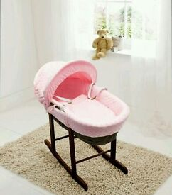Kinder valley pink Dimple with Dark Wicker moses basket. Brand new 5 left