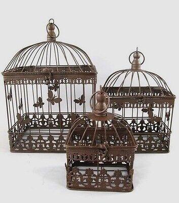 3 Dekorative Vogelkäfige,Deko Vogel Käfig,Antik Eisen,rustikal braun,rechteckig  (Dekorative Vogelkäfige)
