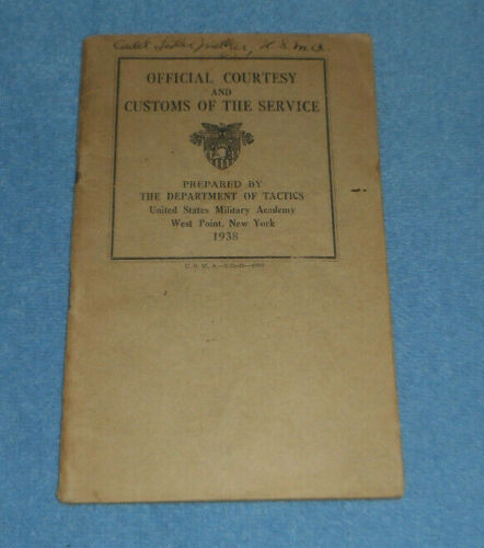 1938 Official Courtesy & Customs Service Booklet US Military Academy West Point