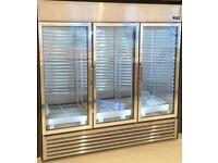 True GDM 72 3 door stainless steel commercial display refrigerator