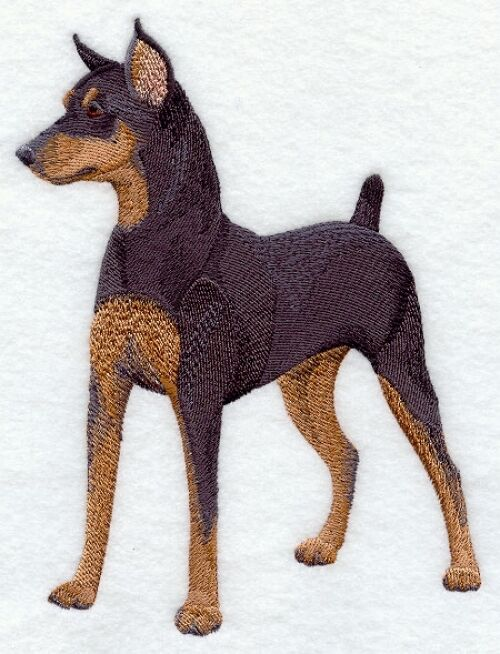 Large Embroidered Zippered Tote - Miniature Pinscher C9610