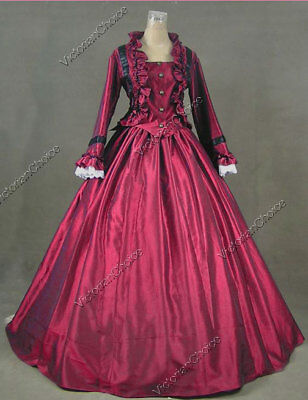 Satin Victorian Dress (Victorian Dickens Christmas Caroler Dress Masquerade Theater Clothing 170)