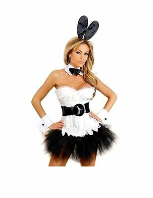 Daisy Corsets Women's 6 Piece Cocktail Bunny Costume, White, 2X](Cocktail Bunny Costume)