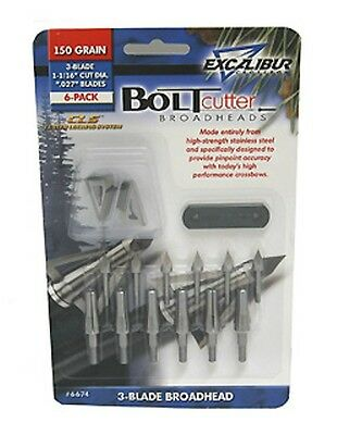New 2018 Excalibur Crossbow 150 Grain Boltcutter 3 Blade Broadheads 6 Pack 6674
