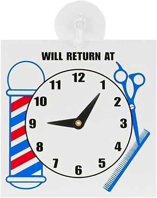 Barber Shop Will Return At Sign With Clock Suction Cup Mount Sc-9017