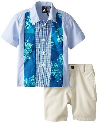 Nautica Infant Boys 2pc Woven Shirt & Twill Short Set Size 12M 24M $42