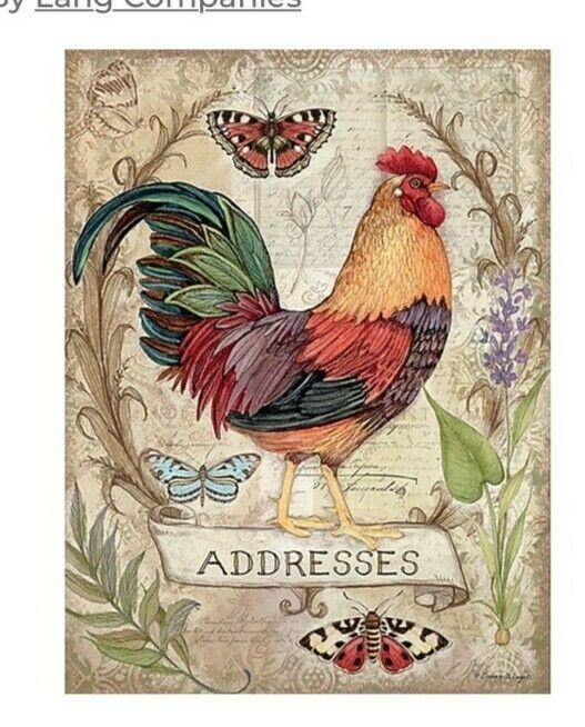 "Lang Co. ""Blessings"" Rooster Address Book by Susan Winget - NEW"