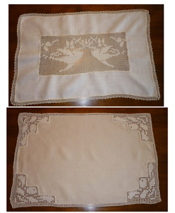 2 Vintage Placemats-Handmade Ecru Linen with crocheted accents