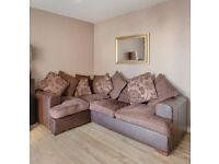 Brown Leather Base, Scatter cushion fabric Sofa, originally from DFS