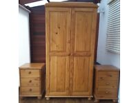 Pine Set of Matching Wardrobe, 2 bed side table and Mirror