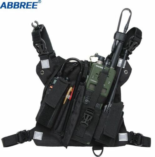 Chest Walkie Talkie Harness Radio Pack Bag Holster Pocket Vest Rig 3 Pouch Front