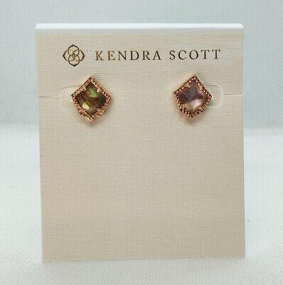 New Kendra Scott Kirstie Stud Earrings In Brown Pearl / Rose gold Golden Brown Earring