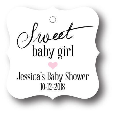 24 Sweet Baby Girl Shower Favor Tag Personalized - Baby Shower Sweets
