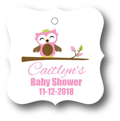 24 Pink Baby Girl Owl Personalized With Name Baby Shower Favor Tag (Pink Owl Baby Shower)